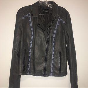 Express Vegan Grey leather Embroidered Jacket